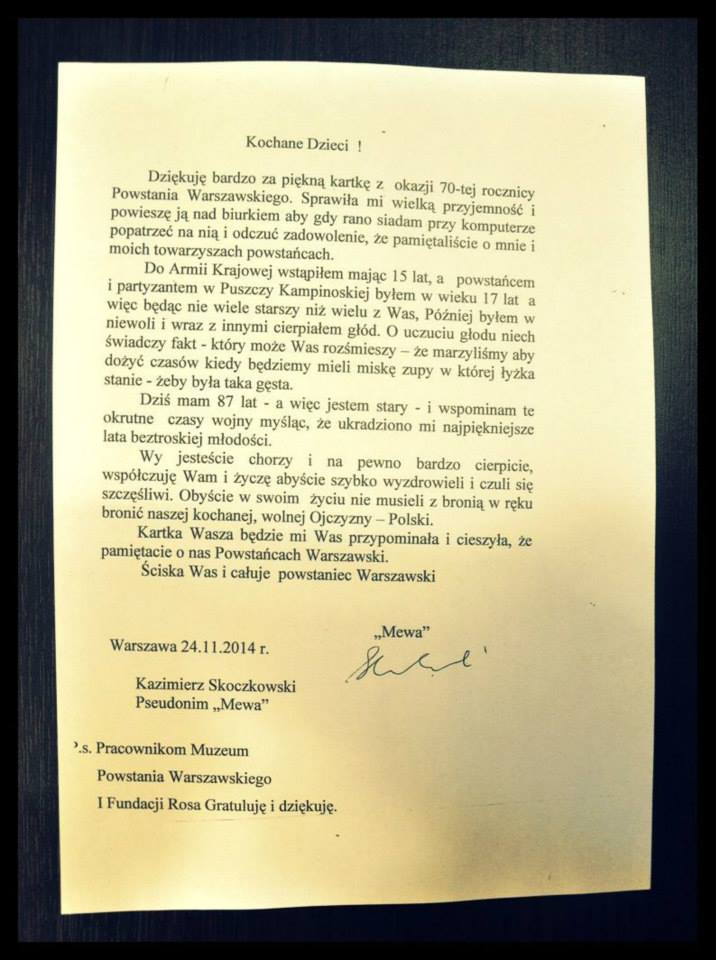 List od Powstanca
